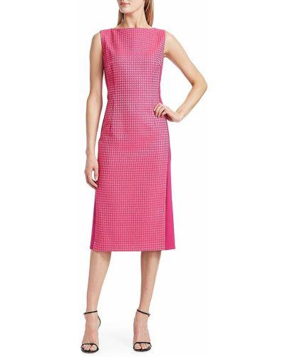 Розовое платье миди в полоску без рукавов Escada
