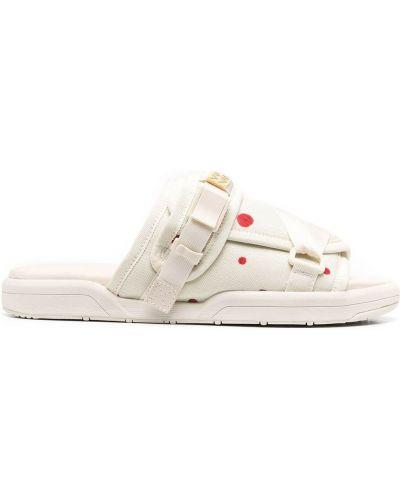 Skórzany biały skórzany sandały z klamrą płaska podeszwa Visvim