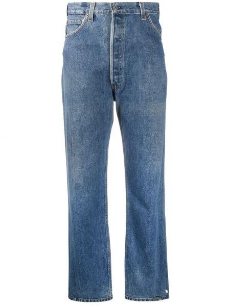 Prosto bawełna niebieski jeansy do kostek z kieszeniami Re/done