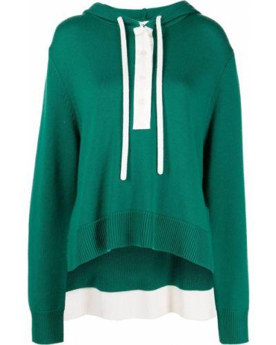 Zielona bluza z kapturem z długimi rękawami Monse
