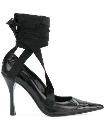 Туфли на каблуке черные кожаные Gucci Vintage