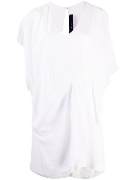 Драповое приталенное платье мини на пуговицах с драпировкой Federica Tosi