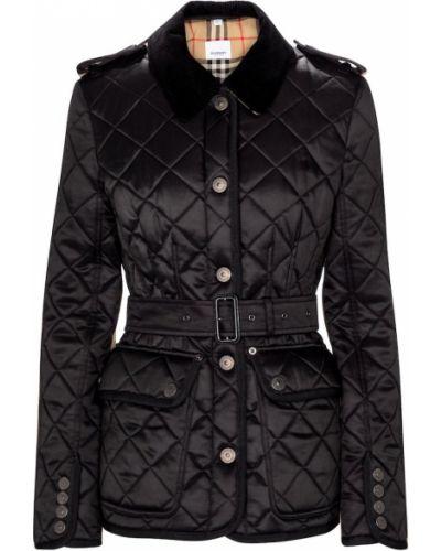 Ватная черная стеганая куртка Burberry