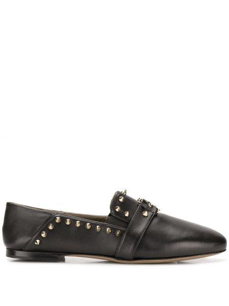 Лоферы черные на каблуке Versace Collection
