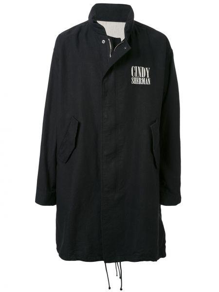 Czarny płaszcz bawełniany z długimi rękawami Undercover