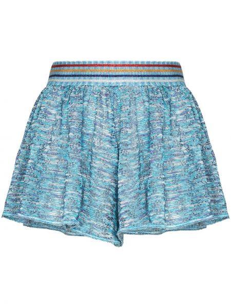 Синие короткие шорты эластичные из вискозы в рубчик Missoni Mare