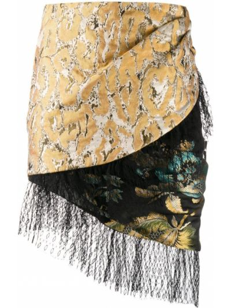 Шелковая желтая асимметричная юбка узкого кроя Christian Pellizzari