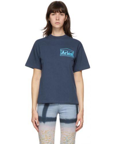 Хлопковая синяя с рукавами рубашка Aries