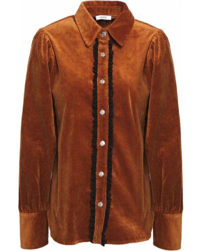 Brązowa koszula bawełniana koronkowa Ganni