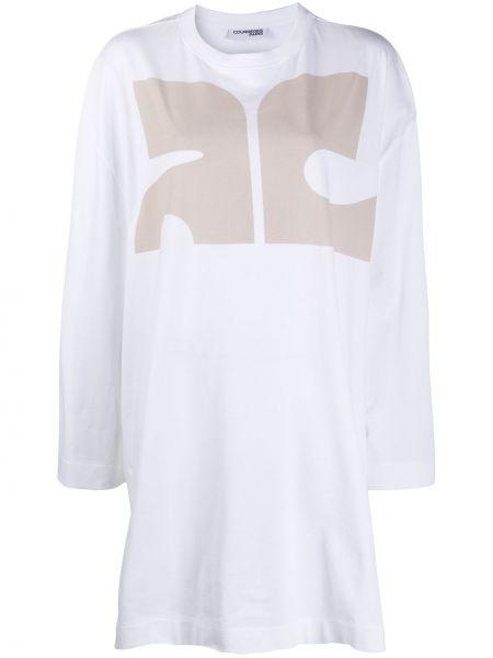 Хлопковое белое платье макси оверсайз с длинными рукавами Courrèges