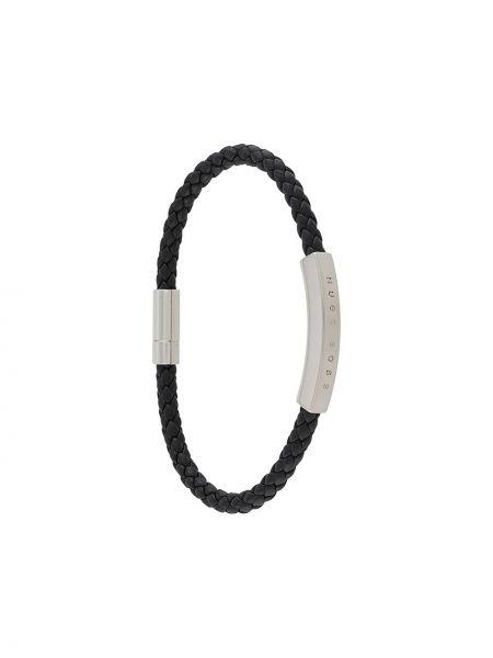 Черный кожаный браслет Boss