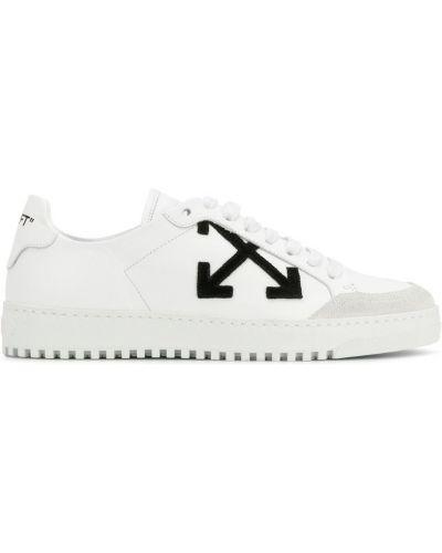 Кожаные кроссовки с заплатками на шнуровке Off-white