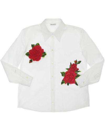 Biała koszula z haftem Dolce And Gabbana