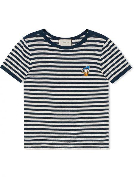 Niebieski bawełna z rękawami koszula z haftem Gucci