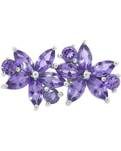 Серебряная брошь с камнями фиолетовый Evora