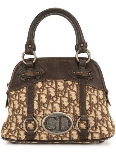 Кожаная коричневая сумка с ручками винтажная Christian Dior