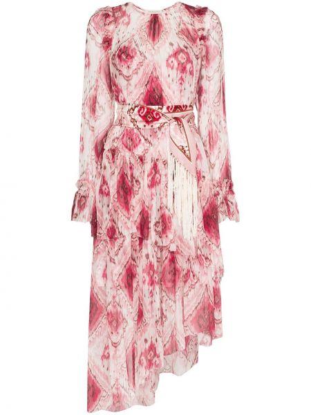 Платье с поясом шелковое с оборками Zimmermann