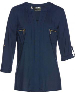 Блузка с длинным рукавом с воротником-стойкой на молнии Bonprix