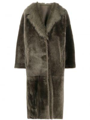 Коралловое длинное пальто двустороннее с лацканами из овчины Liska
