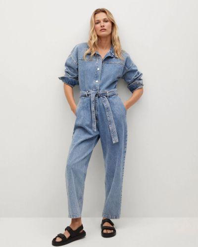 Синий джинсовый комбинезон Mango
