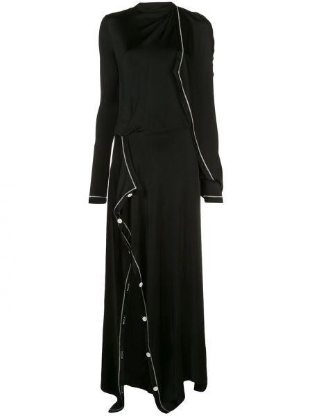 Хлопковое черное асимметричное платье узкого кроя Monse