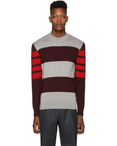 Z rękawami czerwony długi sweter z kołnierzem Boss