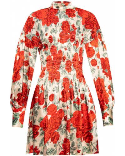 Czerwona sukienka midi boho z długimi rękawami Ganni