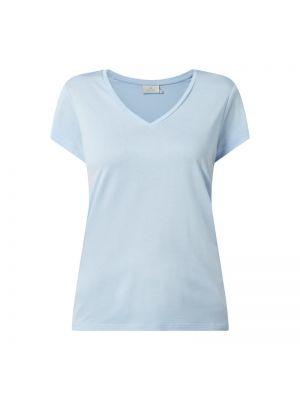 Niebieski t-shirt z wiskozy z dekoltem w serek Kaffe