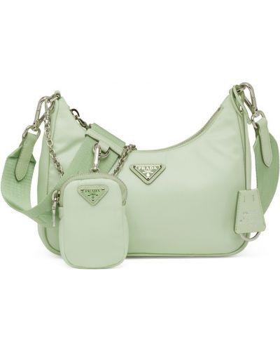 Зеленая кожаная сумка Prada