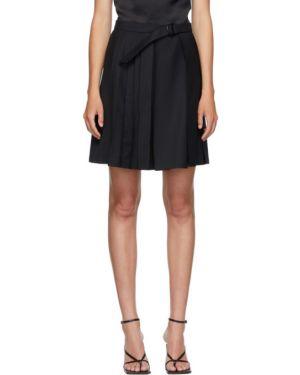 Плиссированная шерстяная черная юбка мини с поясом Situationist
