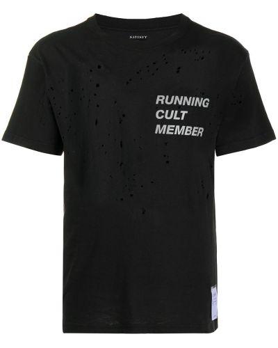 Czarny t-shirt bawełniany krótki rękaw Satisfy
