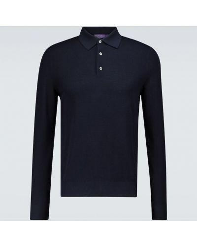 Шелковая синяя классическая рубашка с воротником Ralph Lauren Purple Label