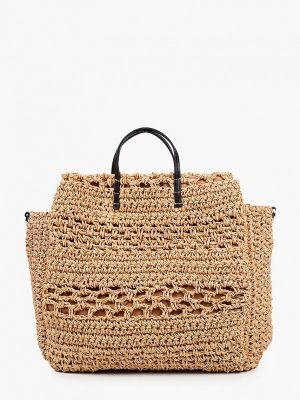 Бежевая соломенная сумка Mango