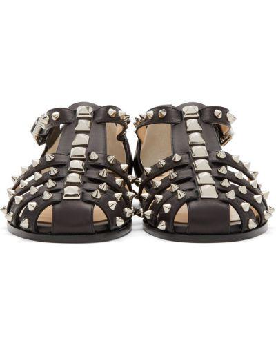 Czarne złote sandały z klamrą Christian Louboutin