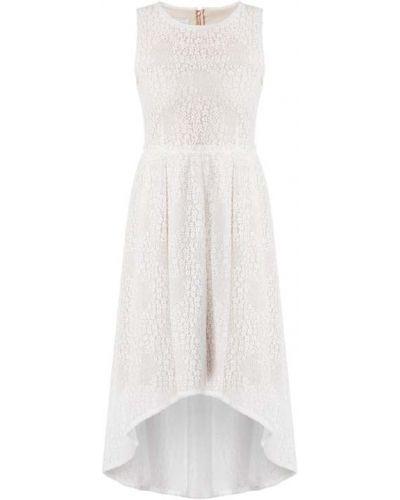 Sukienka koktajlowa rozkloszowana z falbanami koronkowa Apart Glamour