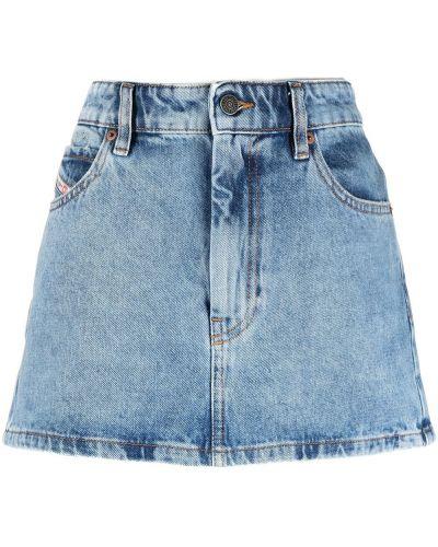 Хлопковая синяя джинсовая юбка на пуговицах Diesel