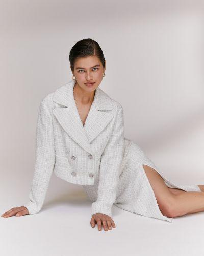 Белый классический пиджак твидовый с накладными карманами 12storeez