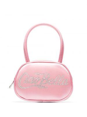 Розовая шелковая сумка Amina Muaddi