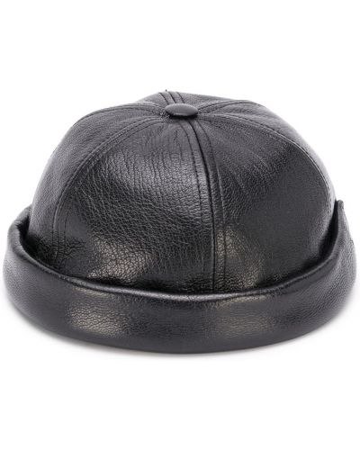 Кожаная черная шапка на липучках Junya Watanabe Man