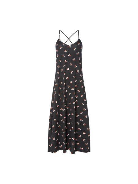 Czarna sukienka rozkloszowana bawełniana Ltb