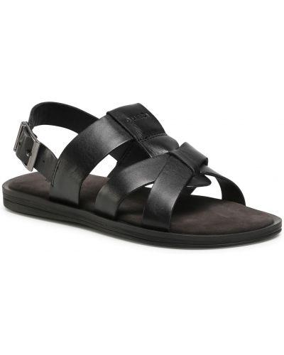 Skórzany czarny sandały z wkładkami Quazi