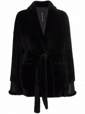 Черное пальто с V-образным вырезом Blancha
