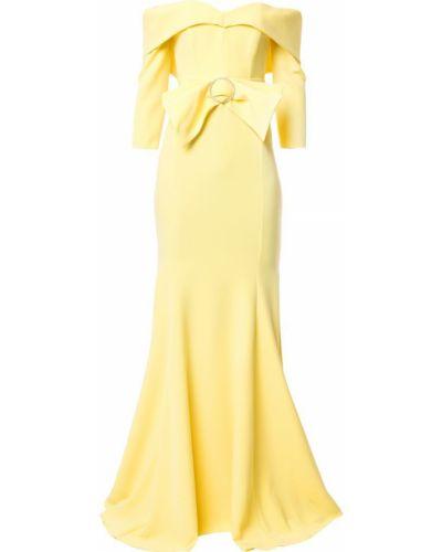 Открытое приталенное желтое вечернее платье Rhea Costa