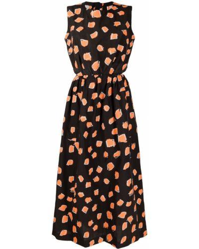 Czarna sukienka rozkloszowana bawełniana Issey Miyake