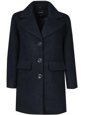 Синее шерстяное пальто с капюшоном Emporio Armani