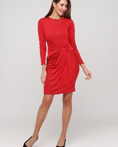 Красное вечернее платье с длинными рукавами со стразами City Goddess