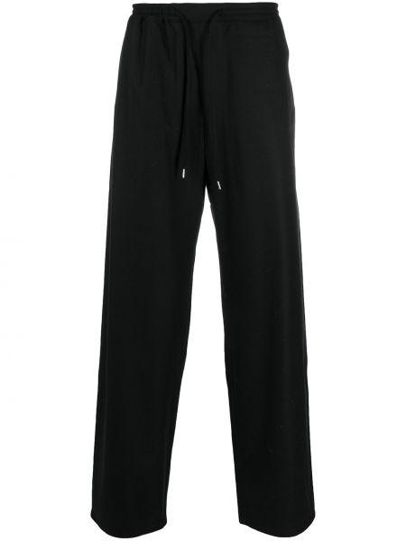 Шерстяные прямые черные прямые брюки на шнурках A Kind Of Guise