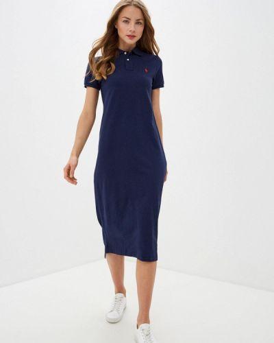 Прямое синее платье Polo Ralph Lauren