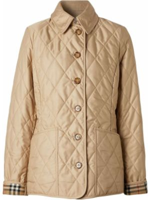 Классическая прямая стеганая куртка на пуговицах с воротником Burberry