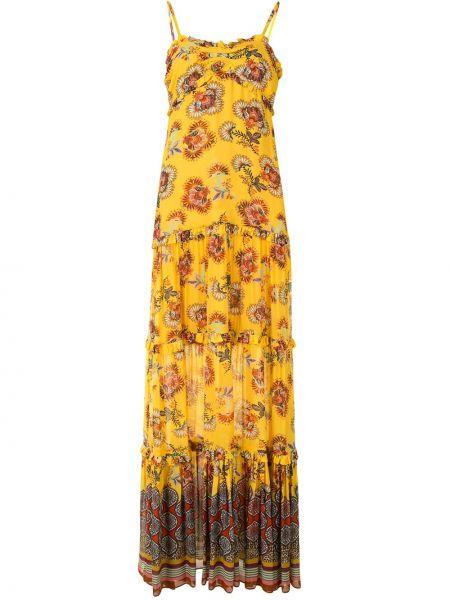 Желтое прямое тонкое платье макси со вставками Alexis